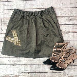 Madewell Gold Printed Skirt